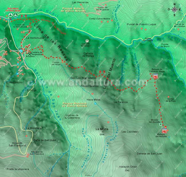 Mapa de Senderismo desde el Barranco de San Juan, en la confluencia con el río Genil hasta los Cortijos del Hornillo