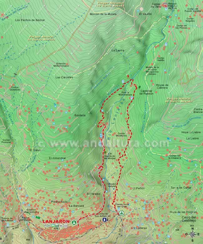 Mapa de senderismo de la ruta por el Castañar de Lanjarón