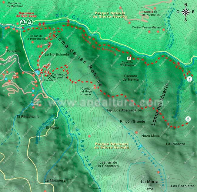 Primer mapa de la ruta de senderismo circular a los Cortijos del Hornillo