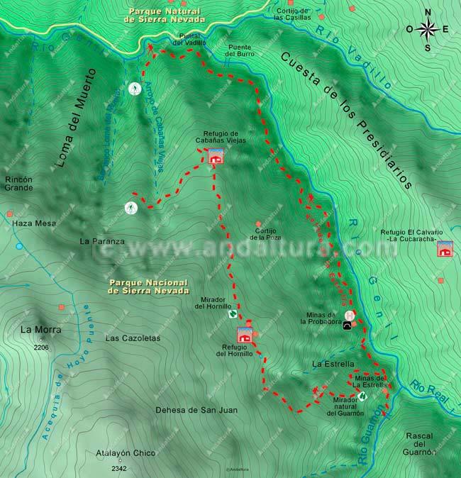 Segundo mapa de la ruta de senderismo circular a los Cortijos del Hornillo