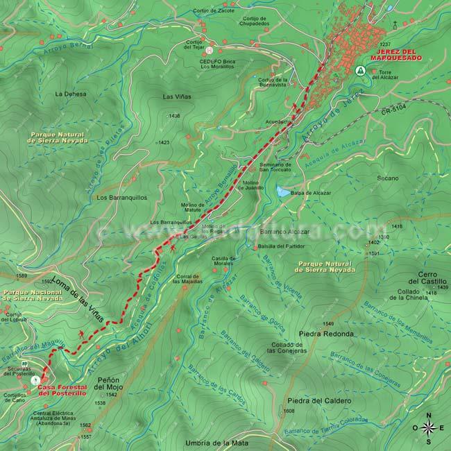 """Mapa de la ruta """"Solidaria El Avión"""", tramo desde Jérez del Marquesdo al Posterillo"""