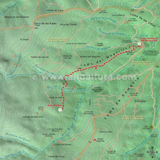 """Mapa de la ruta """"Solidaria El Avión"""", tramo desde el Posterillo a Las Alegas"""