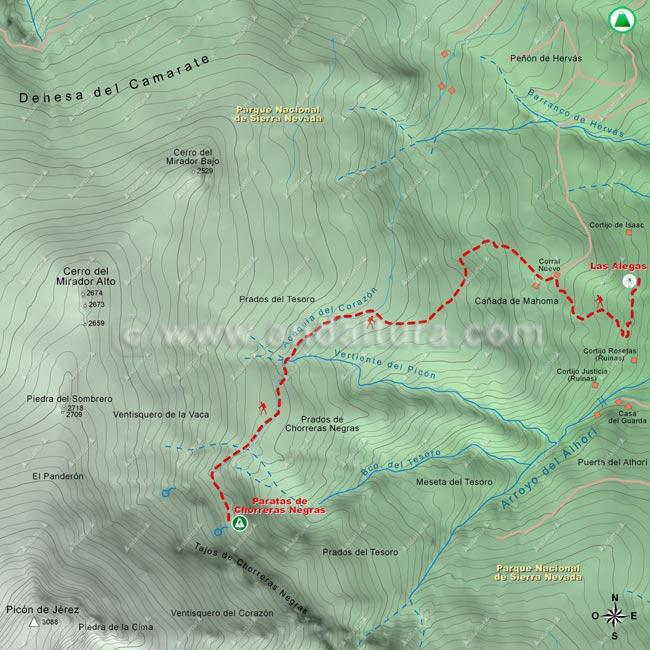 """Mapa de la ruta """"Solidaria El Avión"""", tramo desde Las Alegas a las Paratas de Chorreras Negras"""