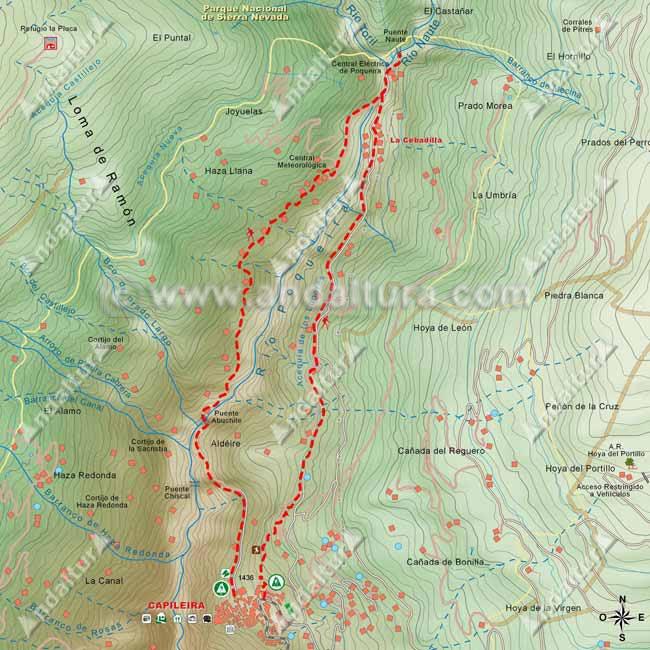Mapa de Capileira a La Cebadilla y regreso por Puente Abuchite hasta regresar de nuevo al municipio
