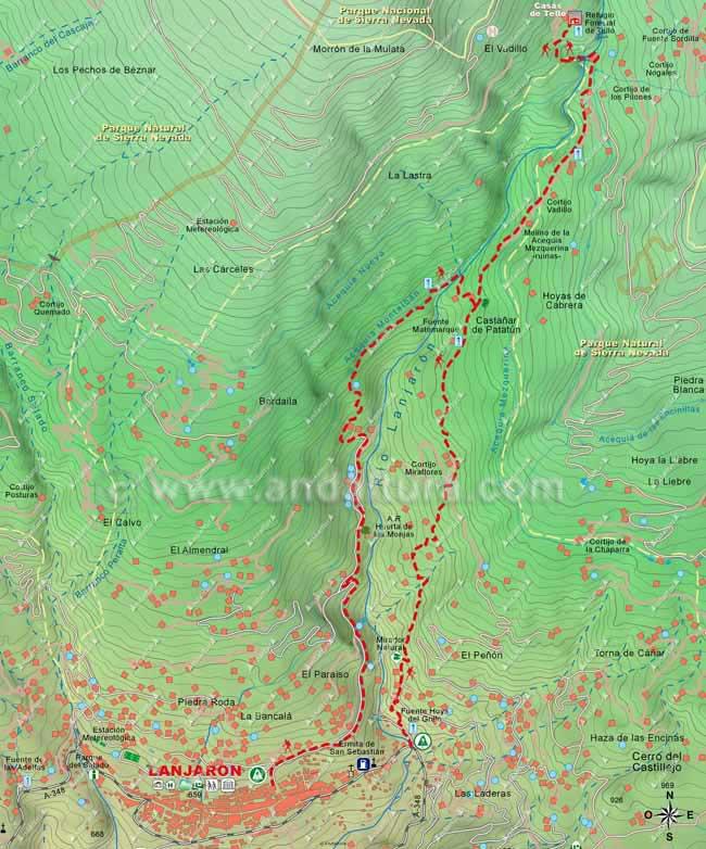 Mapa del sendero que seguiremos para ascender desde Lanjarón a las Casas de Tello y el regreso por la Acequia Montalbán