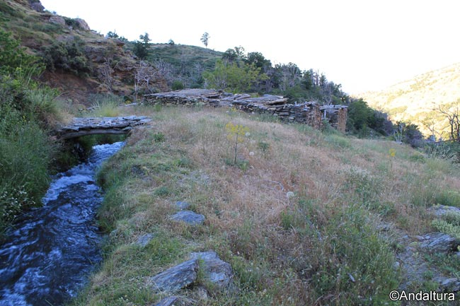 Acequia Mezquerina, con las ruinas del Molino al fondo