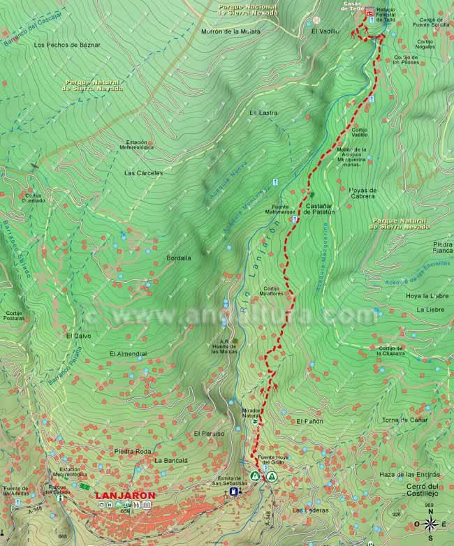 Mapa de la ruta de Senderismo para alcanzar las Casas de Tello desde Lanjarón por el Camino de la Sierra