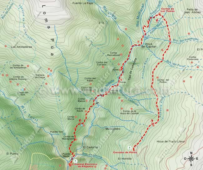 Mapa desde La Cebadilla al Cortijo de las Tomas y descenso a los Corrales de Pitres