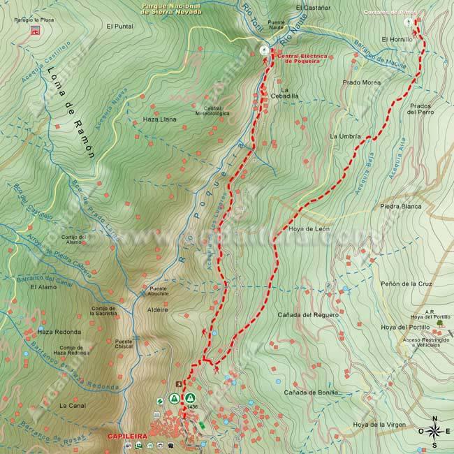 Mapa para ascender desde Capileira hasta La Cebadilla y para el descenso desde los Corrales de Pitres al municipio