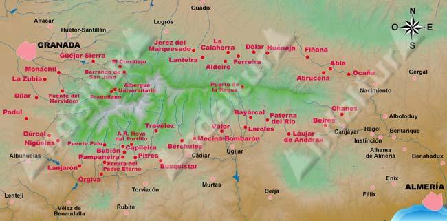 Mapa de los lugares desde donde iniciaremos nuestras rutas de senderismo