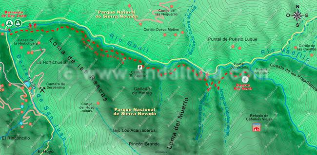 Mapa de la ruta de senderismo hacia las Tejedas de las Labores del Guarnón 1