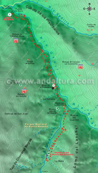 Mapa de la ruta de senderismo hacia las Tejedas de las Labores del Guarnón 2