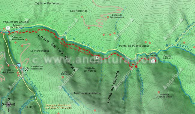 Mapa de la Vereda de la Estrella, desde el Barranco de San Juan al cruce hacia el Puente del Burro