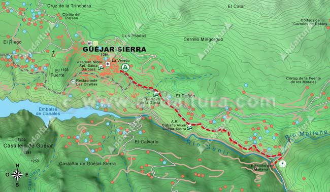 Mapa desde Güéjar-Sierra hasta la Estación de Maitena