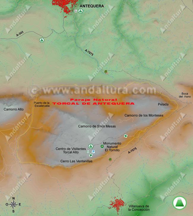 Mapa del Torcal de Antequera, se encuentran marcados los puntos de inicio de nuestras rutas