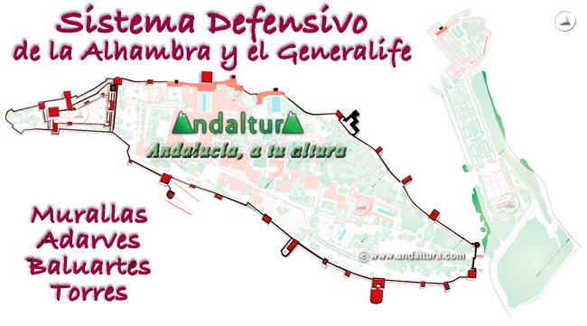 Mapa del Sistema Defensivo de la Alhambra y el Generalife