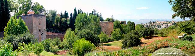 Torre de las Infantas y de la Cautiva desde la entrada del Generalife