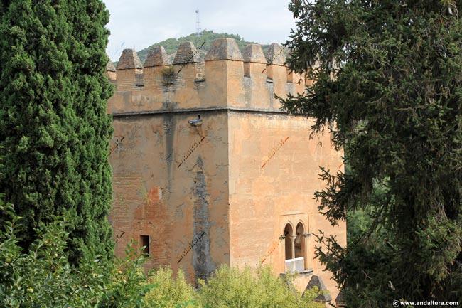 Detalle de la Torre de los Picos desde el Paseo de las Torres