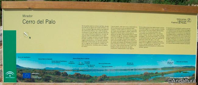 Cartel de las vistas desde el Mirador del Cerro del Palo