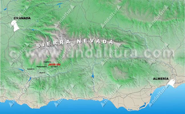 mapa de la situación de bubion con respecto a sierra nevada