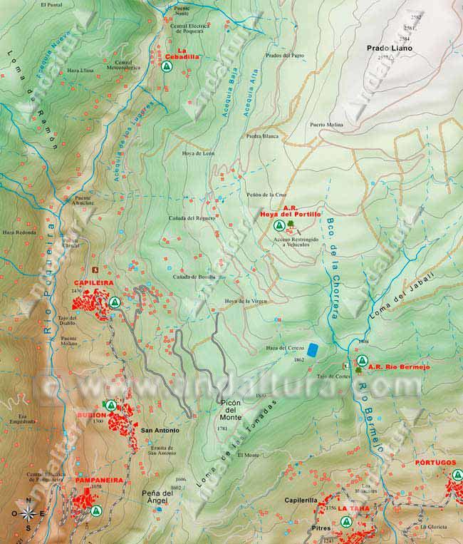 mapa de los accesos en coche al inicio de los itinerarios por el barranco del poqueira