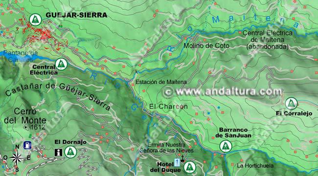 mapa de acceso a las rutas por guejar sierra