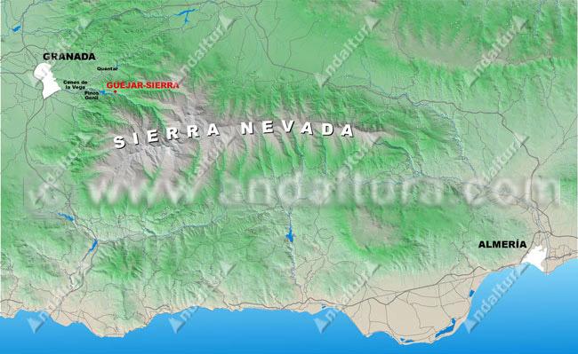 Mapa situación de Güéjar-Sierra dentro de Sierra Nevada