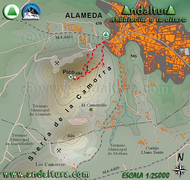 Mapa Cartográfico de la Ruta de Senderismo de Alameda a la Cruz de la Camorra
