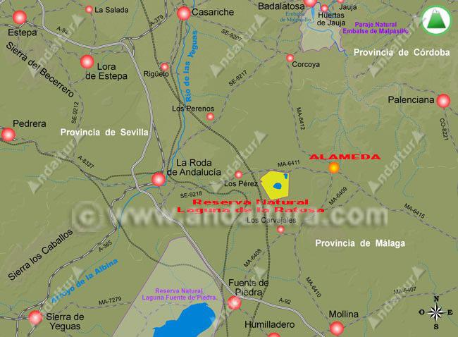 Mapa de aceso a Alameda y a la Laguna de la Ratosa