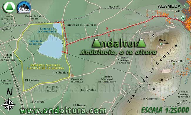 Mapa de senderismo por la Laguna de la Ratosa y de la Castañuela