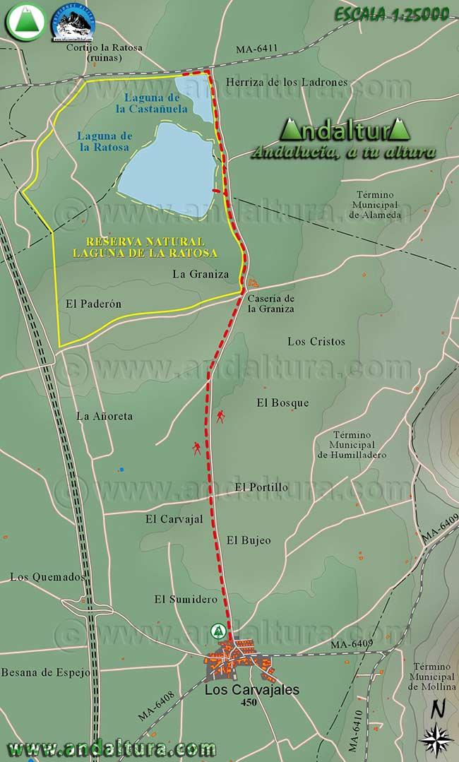 Mapa Cartografico de la Ruta de Senderismo de Los Carvajales a la Laguna de la Ratosa