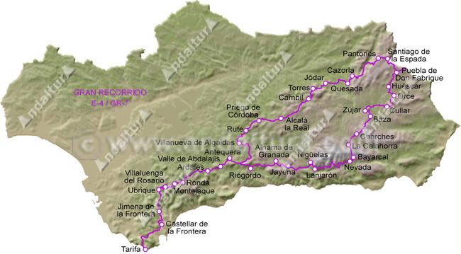 Mapa de Andalucia con el Gran Recorrido GR7