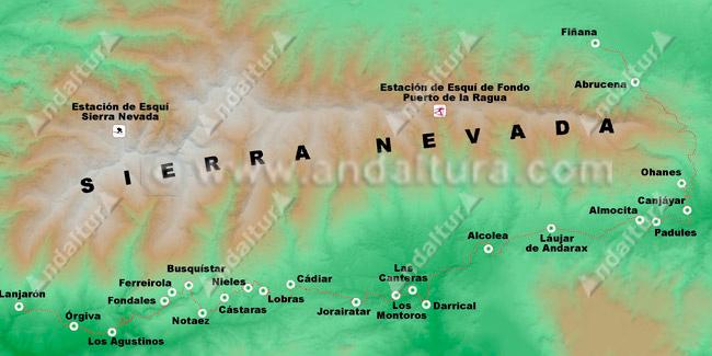 Mapa del Recorrido de la Senda La Alpujarra GR-142
