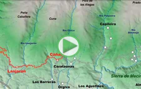 Animación del recorrido completo del Gran Recorrido GR7 a su paso por la Alpujarra, desde Lanjarón hasta La Calahorra (Marquesado del Zenete)