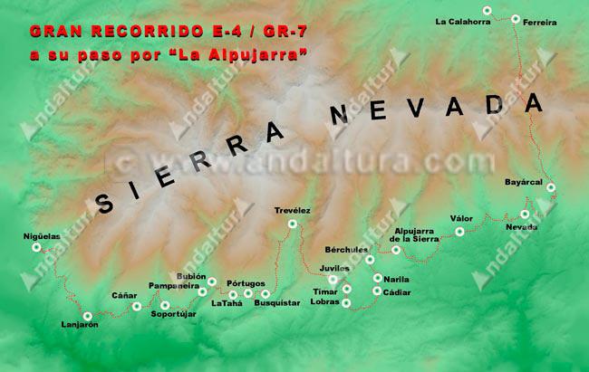 Mapa del Recorrido del sendero E-4 / GR-7 por la Alpujarra