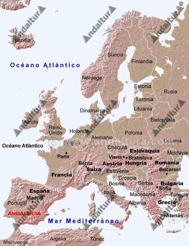 Mapa de Andalucía con el sendero de Gran Recorrido Europea E-4 / GR-7
