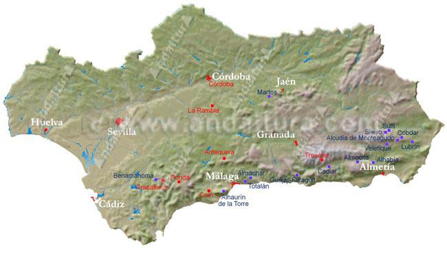 Mapa de los Senderos Locales de Andalucía