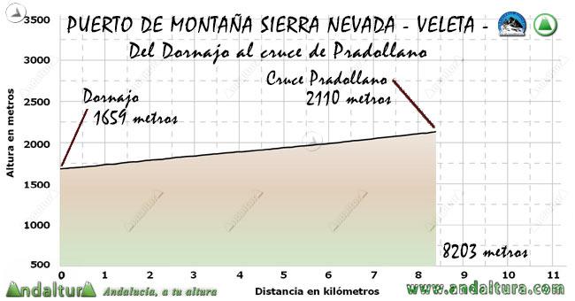 Perfil del Puerto de Montaña al Veleta, desde el Dornajo al cruce de Pradollano