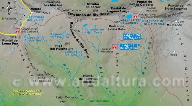 Mapa Lagunas de Majano