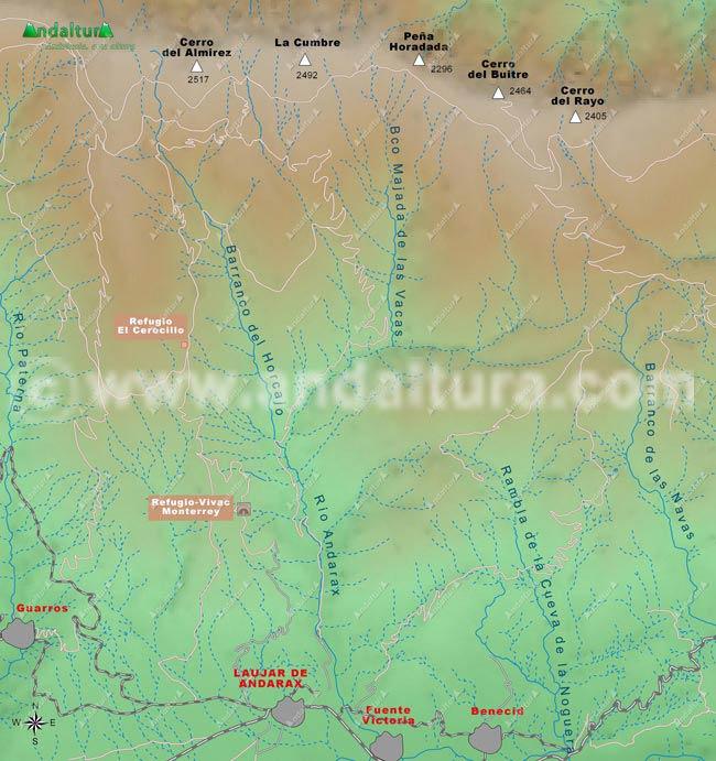 Mapa de los Refugios de la zona del río Andarax en Sierra Nevada