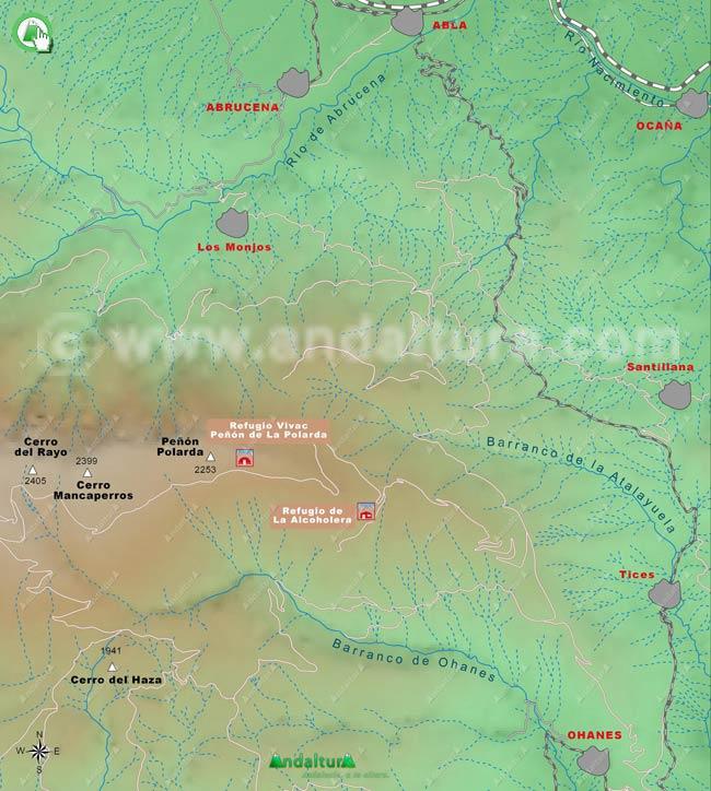 Mapa de los Refugios más orientales de Sierra Nevada, en la zona de la Polarda