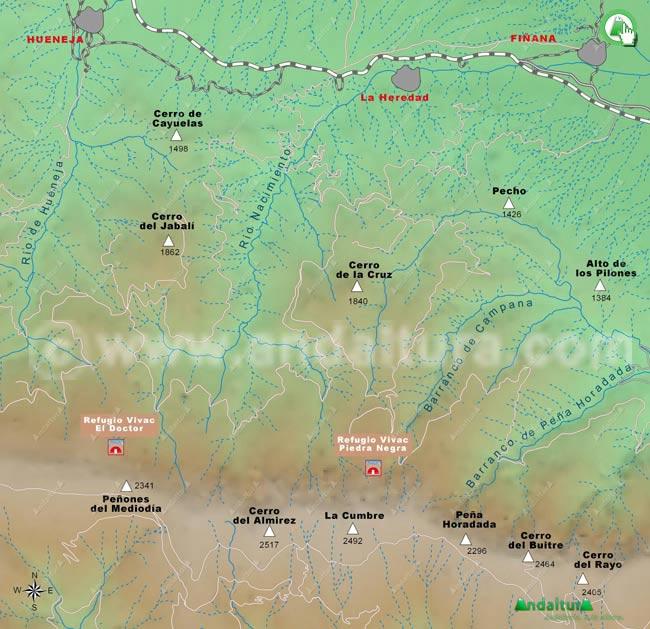 Mapa de los Refugios de la zona del río Nacimiento en Almería
